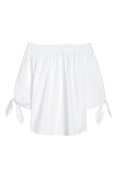 Off-the-shoulder top - White -  | H&M CN
