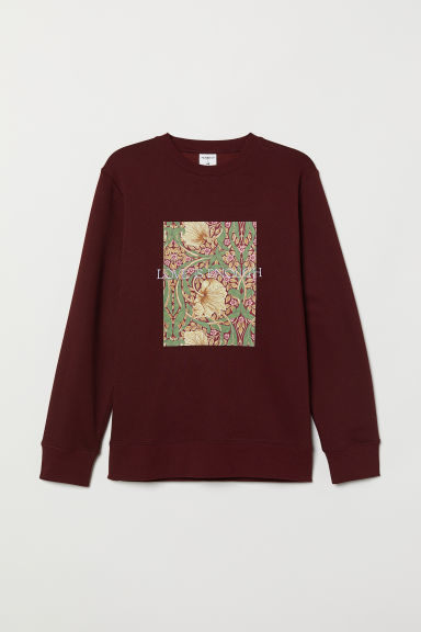 Sweatshirt with a motif - Burgundy - Men | H&M CN