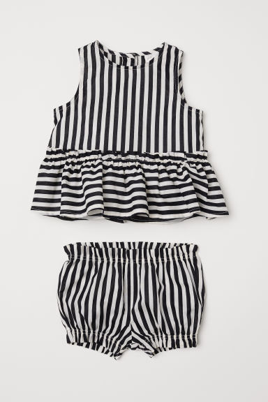 Flounced blouse and puff pants - Natural white/Black striped - Kids | H&M CN