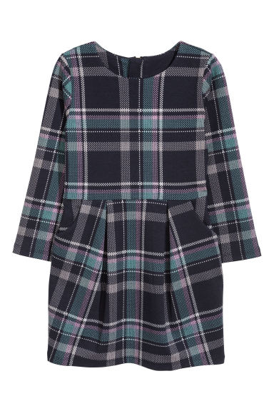 Patterned jersey dress - Dark blue/Checked - Kids | H&M CN