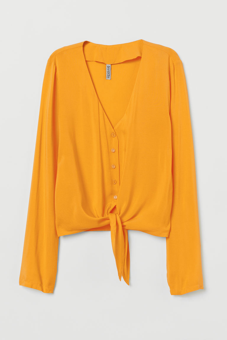 Tie-front V-neck blouse - Yellow -  | H&M GB