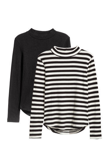 2-pack ribbed tops - Black/Striped -  | H&M