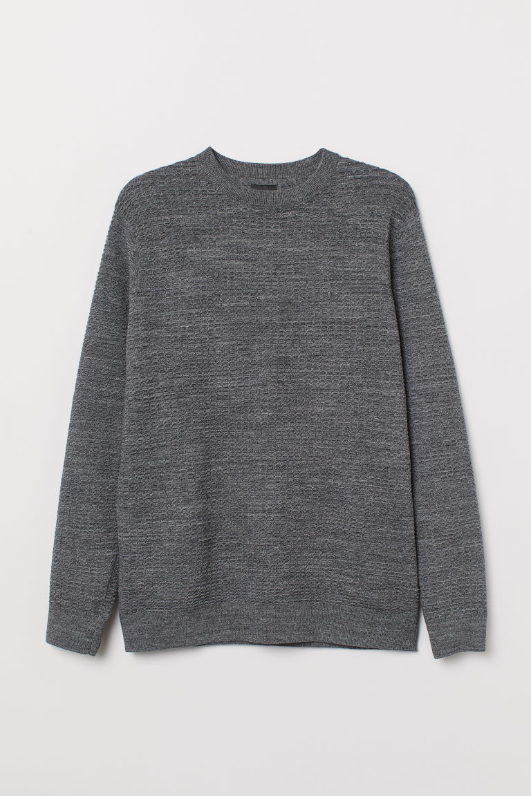 Textured-knit jumper - Dark grey marl - Men | H&M