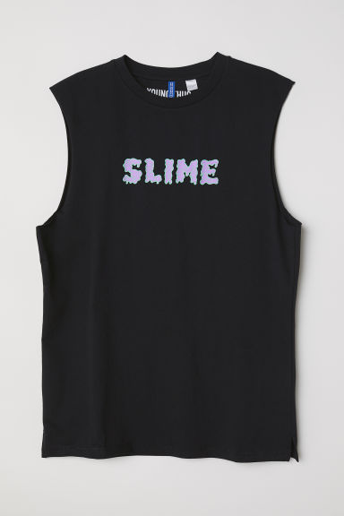 Sleeveless T-shirt - Black/Slime - Men | H&M
