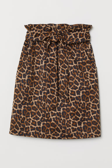 Gonna con vita a sacchetto - Beige/leopardato - DONNA | H&M IT