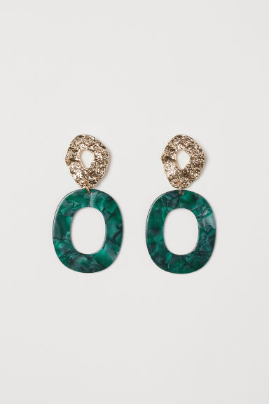 Earrings - Dark green/Gold-coloured - Ladies | H&M GB