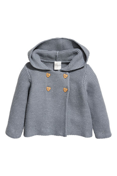 Hooded cardigan - Blue-grey/Glittery -  | H&M