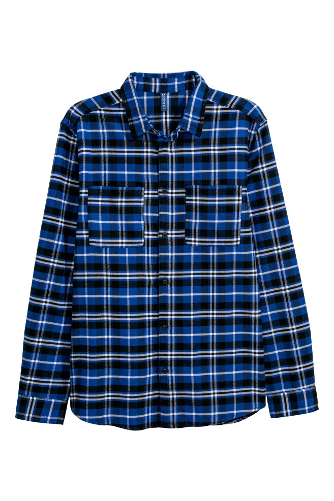 Flanellen Overhemd.Flanellen Overhemd Donkerblauw Zwart Geruit Heren H M Nl