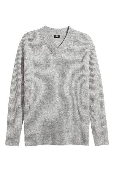 V-neck jumper - Grey marl -  | H&M