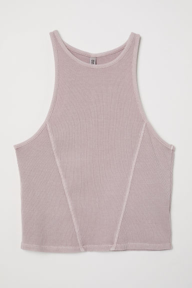 Ribbed vest top - Dusky pink - Ladies | H&M CN