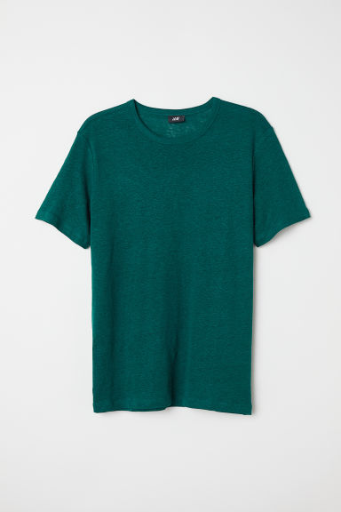 Linnen T-shirt - Donkergroen - HEREN | H&M BE