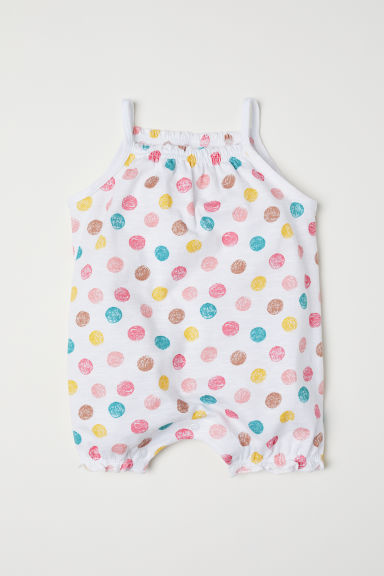 Cotton romper suit - White/Spotted - Kids | H&M CN