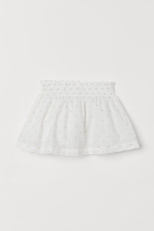 Cotton skirt with smocking