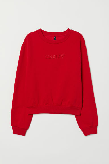 Short sweatshirt - Red/Darlin' -  | H&M