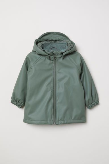 Fleece-lined rain jacket - Khaki green - Kids | H&M