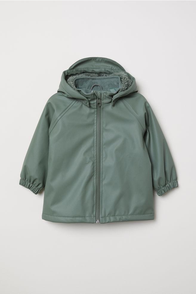 Fleece-lined rain jacket - Khaki green - Kids  49ba91985