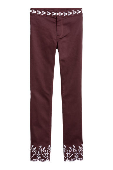 Broek met borduursel - Bordeauxrood -  | H&M BE