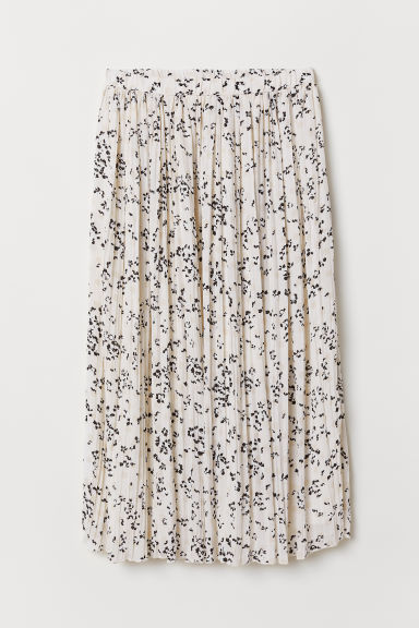Pleated skirt - Cream/Flowers - Ladies | H&M