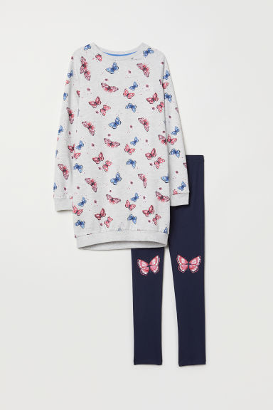 Sweatshirt and leggings - Grey marl/Butterflies - Kids | H&M