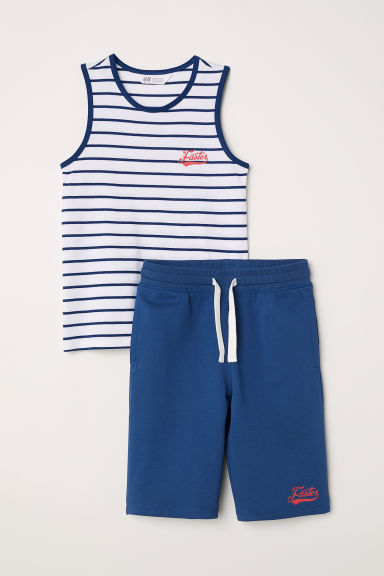 Vest top and shorts - White/Blue striped - Kids | H&M