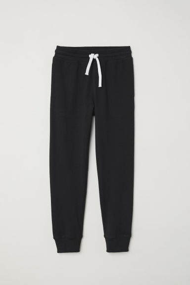 Cotton jersey joggers - Black - Kids | H&M CN