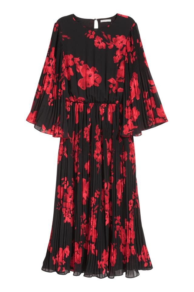 972194f734c2c Robe en mousseline - Noir rouge fleuri - FEMME