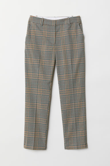 Cigarette trousers - Beige/Checked - Ladies | H&M