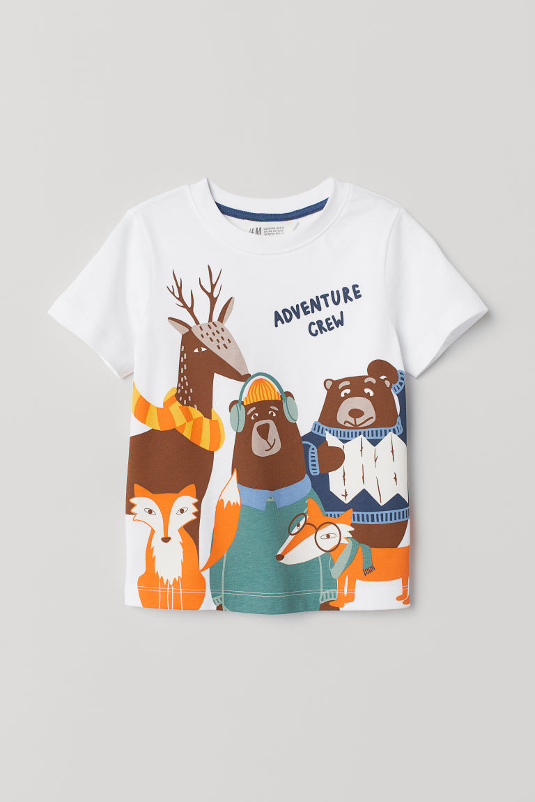 Printed T-shirt - White/Adventure Crew - Kids | H&M