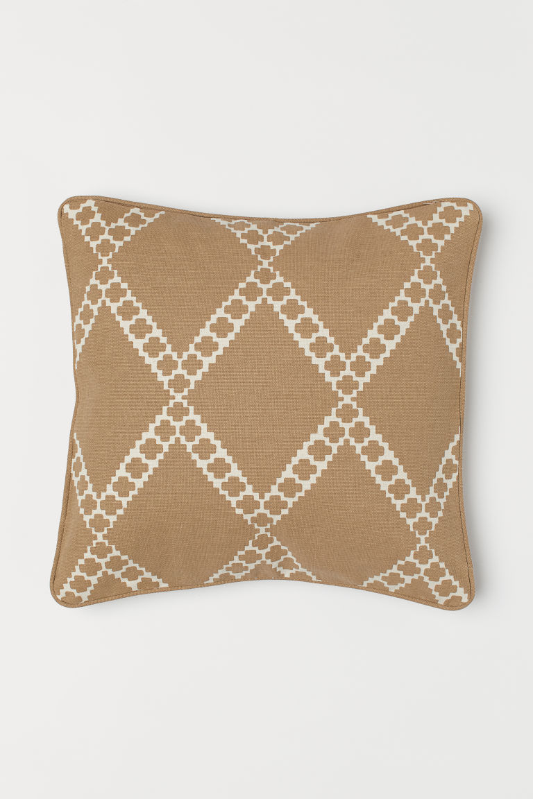 Patterned cushion cover - Dark beige/Patterned - Home All | H&M CN