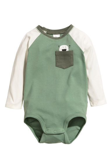 Long-sleeved bodysuit - Grey/Natural white - Kids | H&M CN