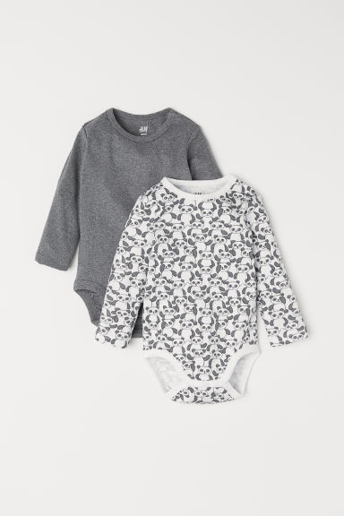 2-pack long-sleeved bodysuits - Grey marl/Pandas -  | H&M
