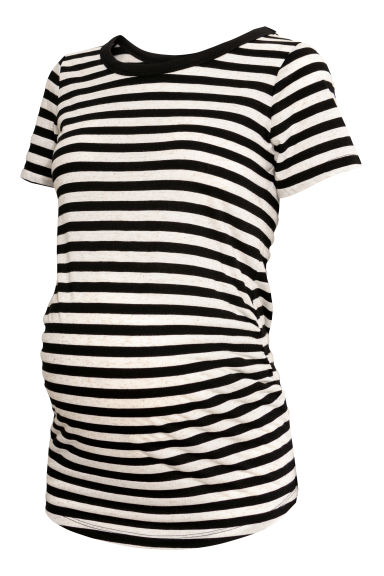 MAMA Short-sleeved top - Black/Striped -  | H&M