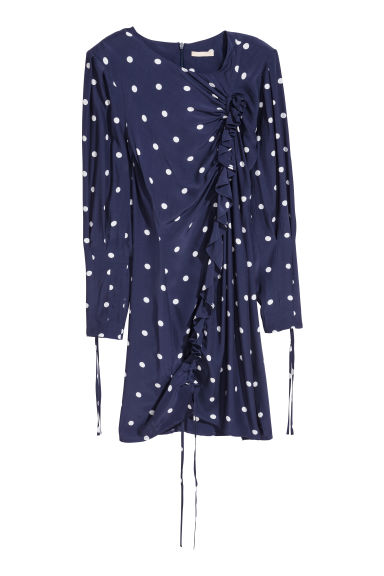Dress with a drawstring - Blue/White spotted -  | H&M