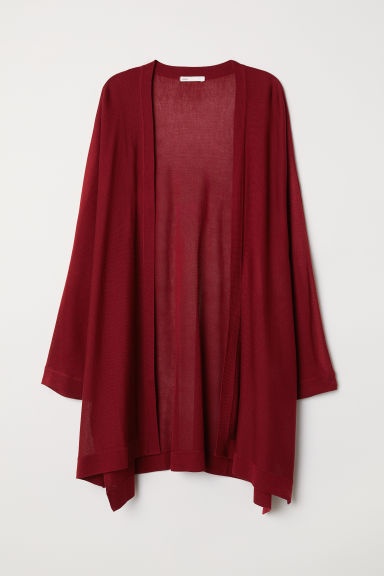Fine-knit cardigan - Dark red - Ladies | H&M CN