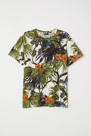 Cotton T-shirt - White/Leaf pattern - Men | H&M