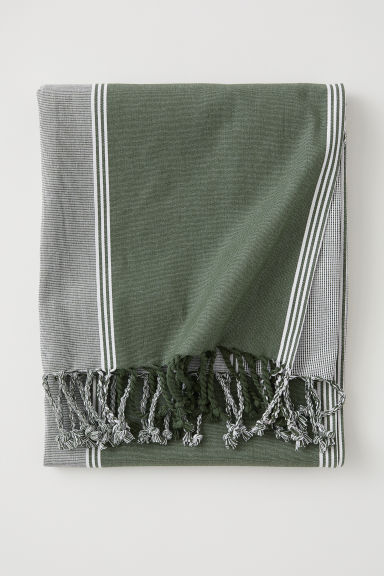 Striped cotton tablecloth - Green/Striped - Home All | H&M IE