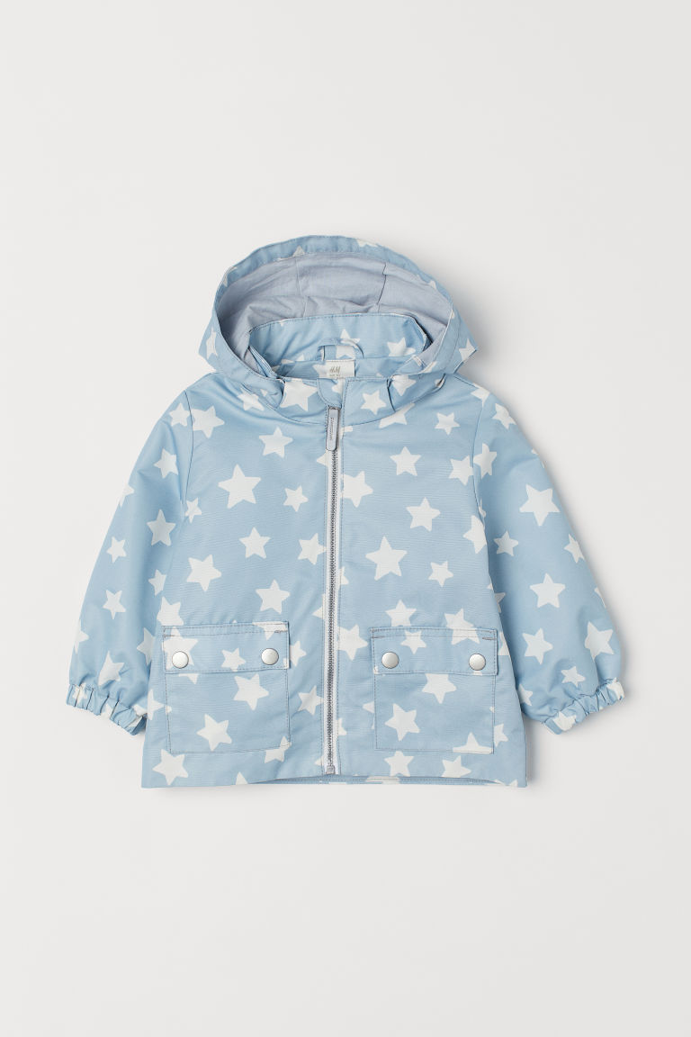 Hooded outdoor jacket - Blue-grey/Spotted - Kids | H&M