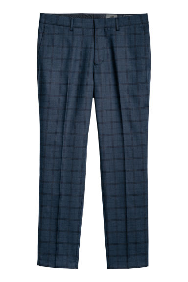 Checked suit trousers Slim fit - Dark blue/Checked - Men | H&M CN