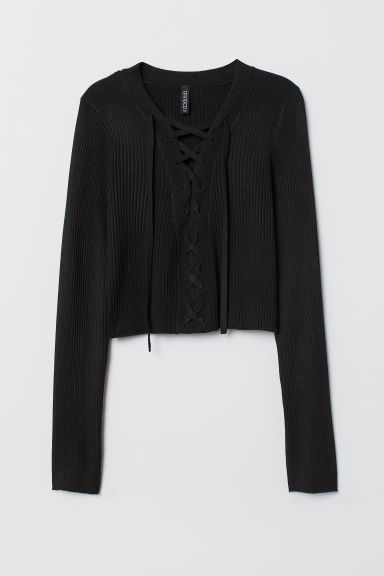Short jumper with lacing - Black -  | H&M