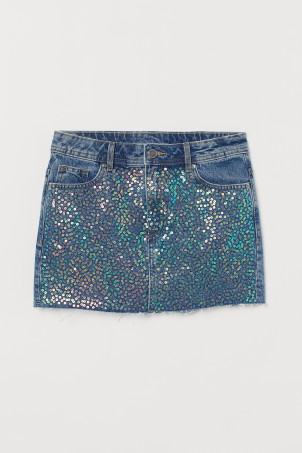 Denim skirt with sequinsModel