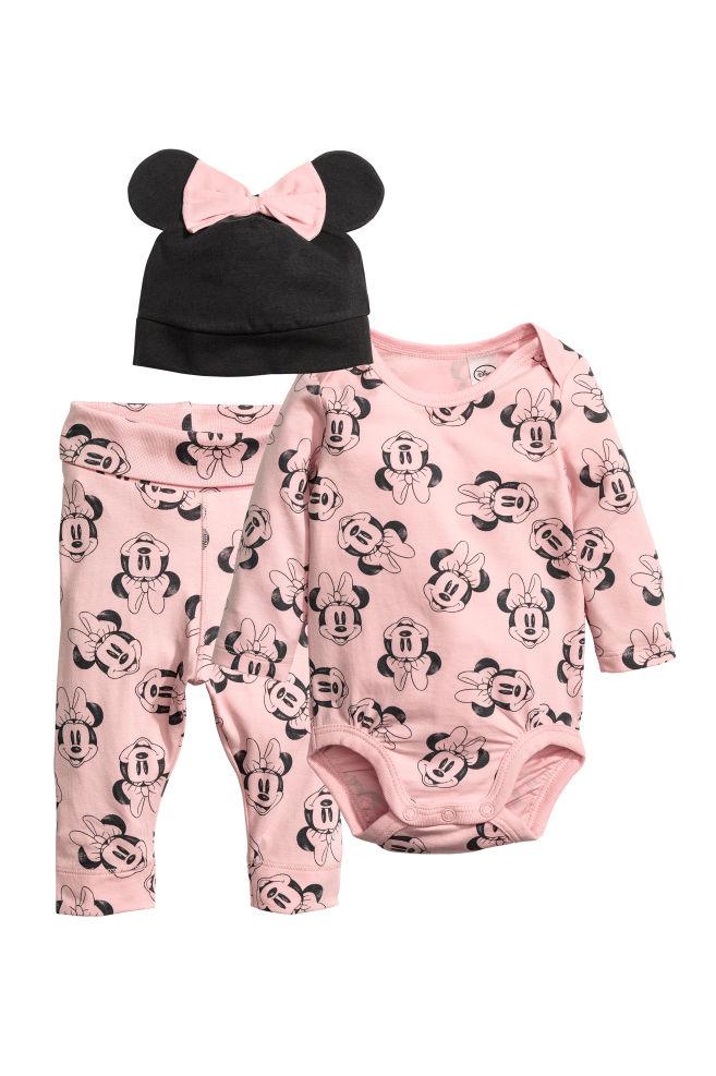 d368e1519 3-piece jersey set - Powder pink/Minnie Mouse - Kids   H&M GB