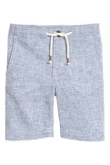 Linen-blend shorts - White/Light blue striped -  | H&M