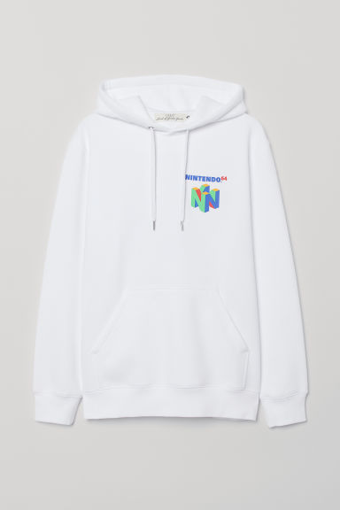 Hooded top with a motif - White/Nintendo 64 - Men | H&M