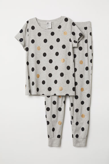 Pyjamas - Grey marl/Spotted - Ladies | H&M