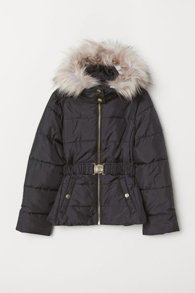 Padded jacket with a belt - Black - Kids | H&M