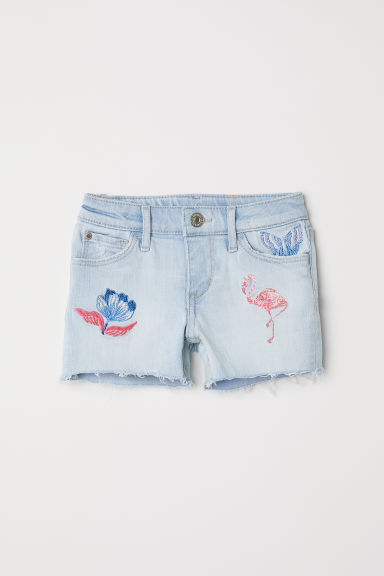 Embroidered denim shorts - Light blue denim - Kids | H&M CN