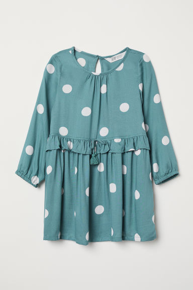 Patterned dress - Green/White spotted - Kids | H&M CN