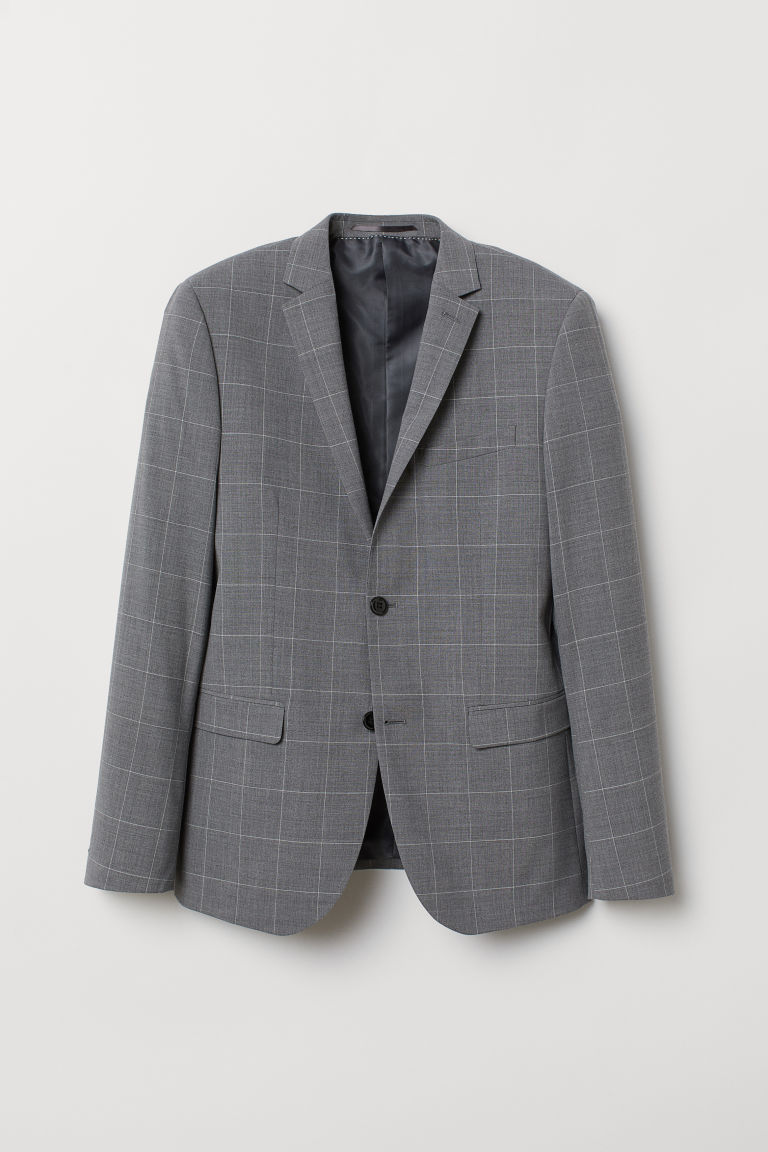 Blazer in misto lana Slim fit - Grigio scuro/quadri -  | H&M IT