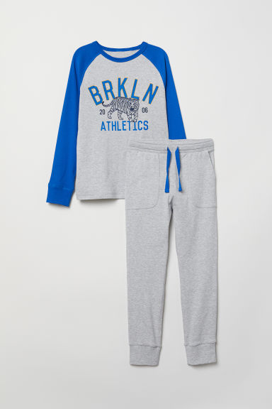 Jersey pyjamas - Grey/Blue - Kids | H&M