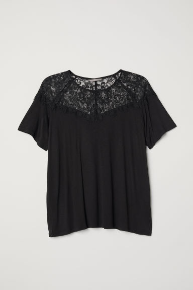H&M+ Top in jersey con pizzo - Nero - DONNA | H&M IT